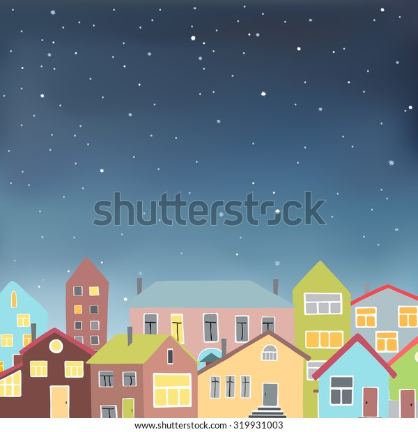 Vector illustration in eps 10 format of an urban night scene with colored buildings under a starry sky.