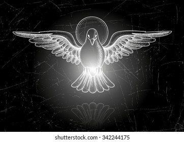 Vector illustration EPS 10. Holy Spirit. Dove in flight. Vintage style of the image. Design elements for your projects. Vintage engraving. Linear drawing.