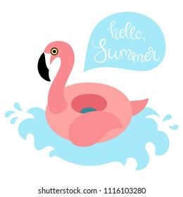 Vector illustration EPS 10: inflatable swimming accessory pink rubber Flamingo with black beak and pink wing and tale on blue wave in flat style with lettering in bubble speach on white background.