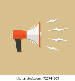 Vector illustration. EPS 10. Megaphone on brown background, flat loudspeaker icon red color. Megaphone sign icon. Megaphone with waves of lightning. Megafone symbol icon