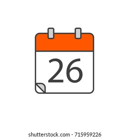 Vector illustration. EPS 10. Red calender color 26 icon, calender icon logo, calender symbol, sign calender icon flat line style. Calendar icon in the trending style.