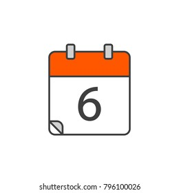 Vector illustration. EPS 10. Red calender color 6 icon, calender icon logo, calender symbol, sign calender icon flat line style. Calendar icon in the trending style.