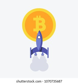 Vector illustration. EPS 10. Rocket, spaceship and bitcoin icon color. Rocket ship bitcoin is flying. Rocket bitcoin logo. Rocket bitcoin image