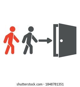 Vector illustration. EPS -10. Two people enter the door, one of them is red. Do not enter two by two.