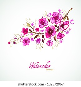 Vector illustration (eps 10) of Watercolor floral
