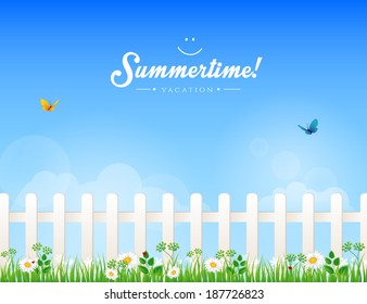 Vector illustration (eps 10) of White fence with grass