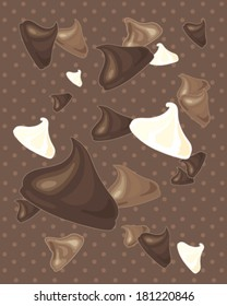 a vector illustration in eps 8 format of a delicious dark milk and white chocolate chips scattered on a dotty background