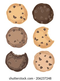 a vector illustration in eps 8 format of a selection of delicious chocolate chip cookies on a white background