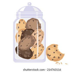 a vector illustration in eps 8 format of a glass jar with delicious home made chocolate chip cookies inside and cookie with bite mark and crumbs on a white background