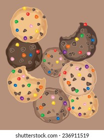 a vector illustration in eps 8 format of delicious cookies with chocolate chips and colorful rainbow candy some with bite marks on a brown background