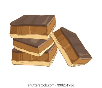 a vector illustration in eps 8 format of a stack of caramel shortbread with a chocolate topping otherwise known as millionaire shortbread on a white background