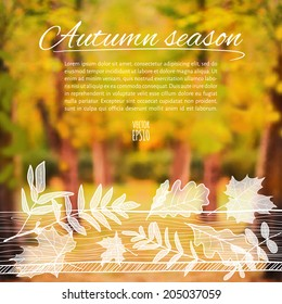 Vector illustration. EPS10. Autumn sketch with space for text on a background of blurred photos