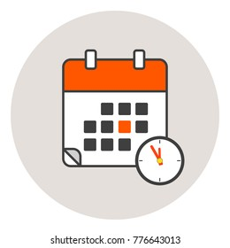 Vector illustration. EPS10. Calender icon red color. Calender logo,calender symbol and clock icon color. Clock show 5 minute to 12 am or pm.Calender icon flat line style.Calendar in the trending style