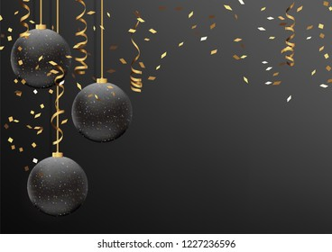 Vector illustration eps10 of happy new year and merry christmas 2019 background with star,chrsitmas ball,golden ribbon and confetti.