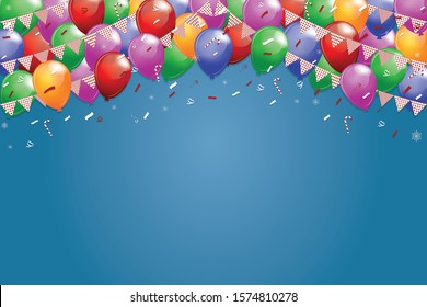 Vector illustration EPS10 of Holiday banners with party flags and colorful balloons on blue background