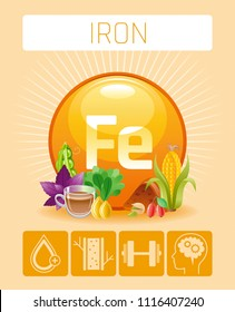 Vector illustration eps10, isolated background. Realistic Iron Fe mineral vitamin supplement icons. Food and drink healthy diet symbol, 3d medical infographics poster template. Flat benefits design