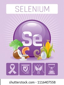 Vector illustration eps10, isolated background. Realistic Selenium Se mineral vitamin supplement icons. Food and drink healthy diet symbol 3d medical infographics poster template. Flat benefit design