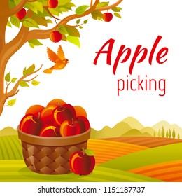 Vector illustration eps10 isolated fall landscape background. Realistic fall food symbol, 3d apple picking basket, fruit trees garden. Cartoon cute rural country icon flat sign. Retro flat farm sign