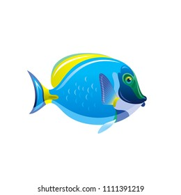 Vector illustration eps10, isolated on white background. Realistic sea animal symbol, 3d Acanthurus surgeon fish. Tropical underwater aquatic creatures, cartoon cute icon. Summer travel flat sign.