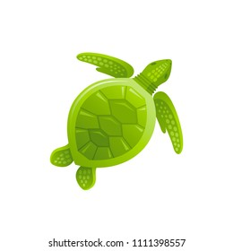 Vector illustration eps10, isolated on white background. Realistic sea animal symbol, 3d swimming sea turtle. Tropical underwater aquatic creatures, cartoon cute icon. Summer travel flat sign.