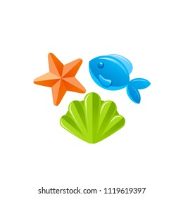 Vector illustration eps10, isolated on white background. Realistic vacation travel symbol, fun play toy concept, 3d plastic sandboxes, fish, shell. Cartoon baby toy cute sea beach icon, flat sign