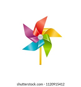 Vector illustration eps10, isolated on white background. Realistic vacation travel symbol, fun play toy concept, 3d rainbow color wind mill toy. Cartoon baby toy game, cute sea beach icon, flat sign