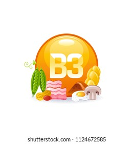 Vector illustration eps10 isolated on white background. Vitamin B3  niacin vitamin supplement icons. Food drink healthy diet symbol, 3d medical infographics poster. Flat benefits design