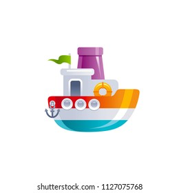 Vector illustration eps10 isolated on white background. Realistic baby toy symbol, fun play childhood concept, 3d cruise ship boat. Cartoon cute childy toy, cute funny preschool icon, flat sign