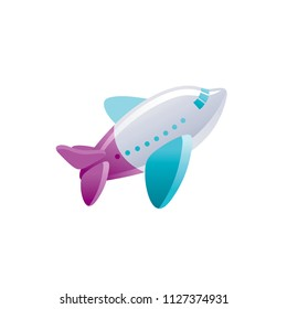 Vector illustration eps10 isolated on white background. Realistic baby toy symbol, fun play childhood concept, 3d airplane. Cartoon plane cute child toy, cute funny preschool icon, flat sign