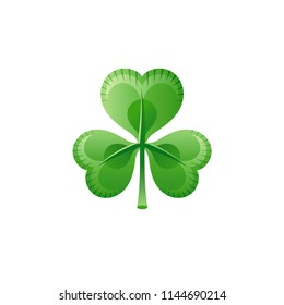 Vector illustration eps10 isolated on white background. Realistic spring nature symbol, 3d clover shamrock springtime holiday concept. Cartoon Irish festival St Patrick day cute icon. Retro flat sign