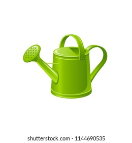 Vector illustration eps10 isolated on white background. Realistic green watering can, 3d seasonal garden equipment tool. Vintage spring summer  fall cartoon cute icon. Traditional retro flat sign