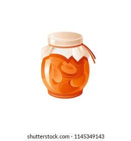 Vector illustration eps10 isolated on white background. Realistic food and drink symbol, 3d closed glass jar, apricot jam, healthy organic product. Cute peach marmalade breakfast icon. Retro flat sign