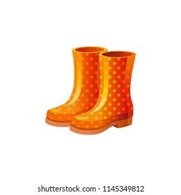 Vector illustration eps10 isolated on white background. Realistic autumn nature symbol, 3d season clothes concept. Cartoon cute rubber boots pair icon. Polka dot orange shoe. Retro flat sign