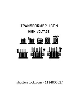 Vector illustration. Equipment  electric High Voltage Transformers for substation  on a white background. Symbols, steps for successful business planning Suitable for advertising and presentations.