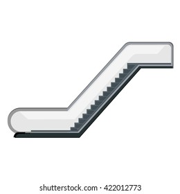 Vector illustration escalator isolated on white background. Modern escalator stairs icon