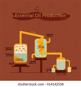 Vector illustration. Essential oil production