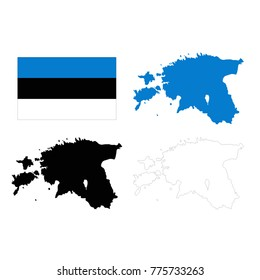 vector illustration of Estonia map and flag
