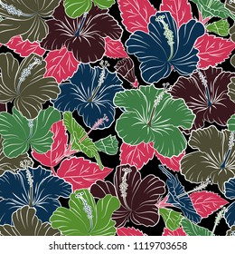 Vector illustration. Ethnic floral seamless pattern in brown, green and blue colors with decorative hibiscus flowers.