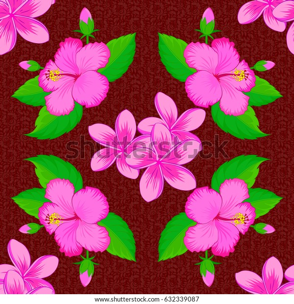 Vector illustration. Ethnic floral seamless pattern on a red background with decorative hibiscus flowers.