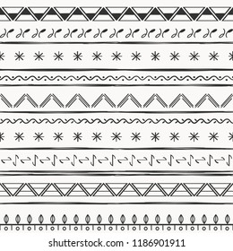 Vector illustration ethnic seamless pattern. Black and white print. For fabric, textile and linen, wallpaper, pattern fills or web page background, gift and wrapping paper.
