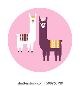 Vector illustration ethnic sticker or label of South America with lamas. Flat design style.
