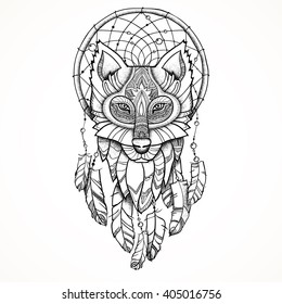 Vector illustration. Ethnic totem Wolf and Dreamcatcher. Doodle. Tattoo.
