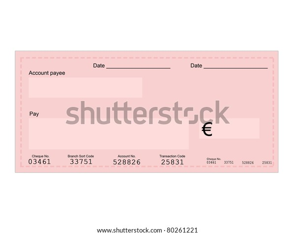 Vector Illustration Euro Check Space Your Stock Vector