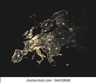 vector illustration of Europe city and communication lights map