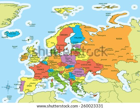 Vector Illustration Europe Map Countries Different Stock ...