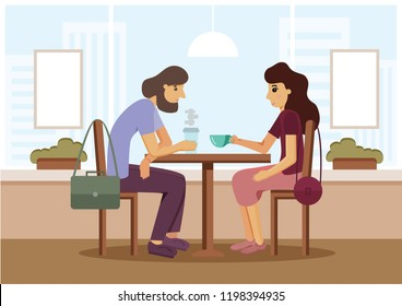 Vector illustration: European boy and girl sitting in cafe in the sixty, for Vector banner, poster, postcard, website, Hand sketched illustration, light colors
