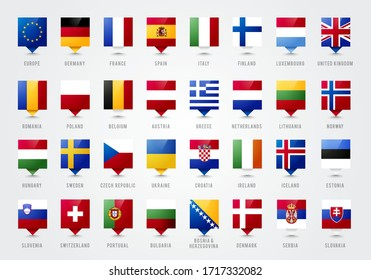 Vector Illustration European Countries Tooltip. Pointer With Flag Of Europe