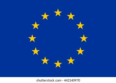 vector illustration of european flag EU original and simple in official colors and proportion correctly, isolated background