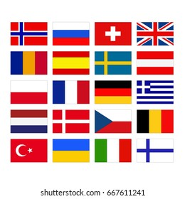 vector illustration of European flags