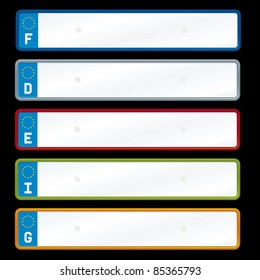 Vector illustration of european license plates.